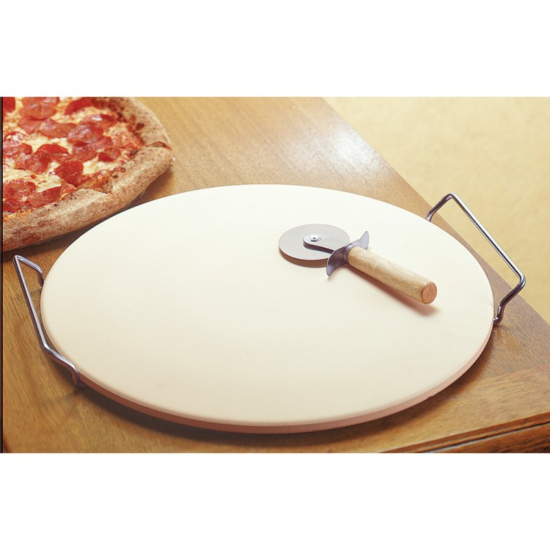 Image 0 of 3-Piece Pizza Stone Rack and Pizza Wheel