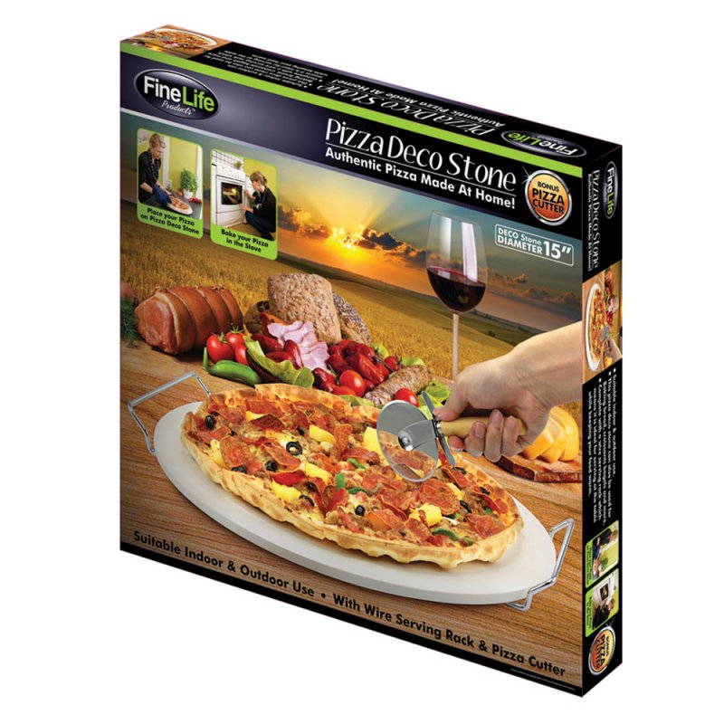 Image 2 of 3-Piece Pizza Stone Rack and Pizza Wheel