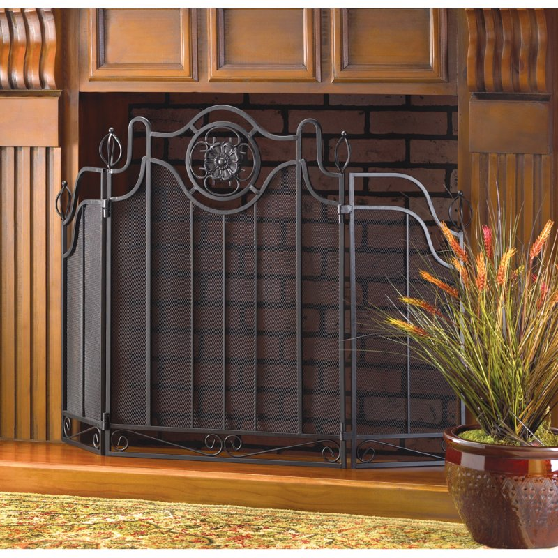 Tuscan Design Wrought Iron Fireplace Screen