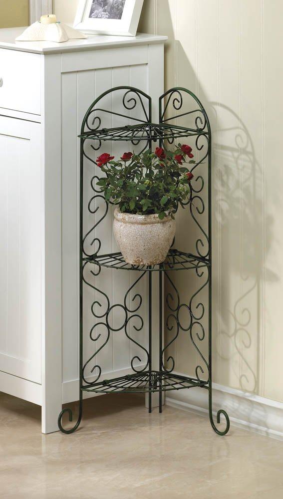 Corner Curio, Plant Stand with Three Shelves Antiqued Faux Verdigris