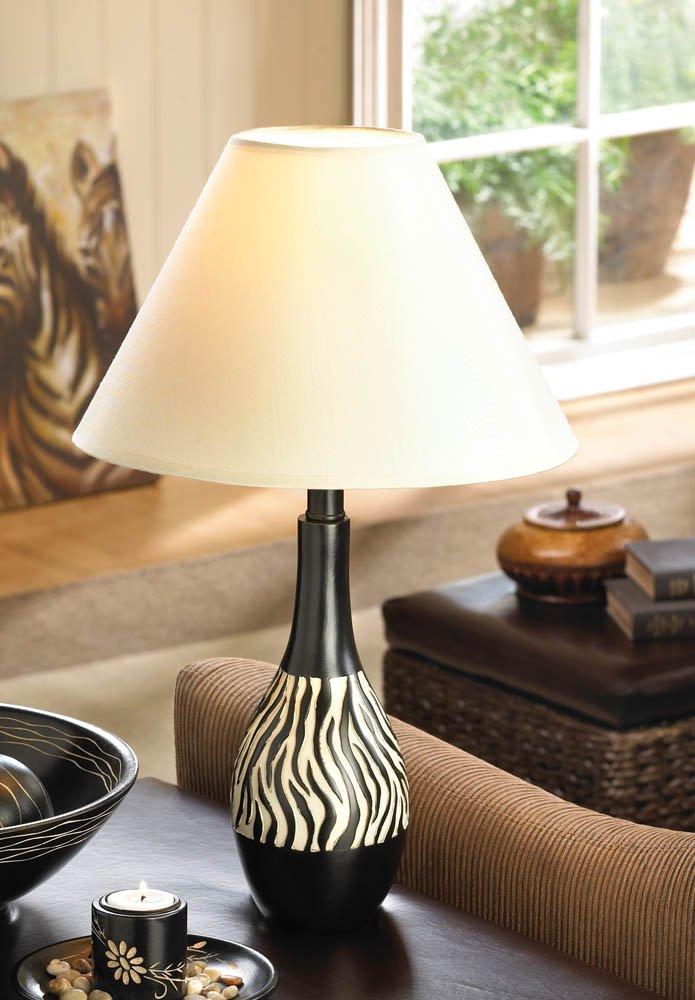 Image 1 of Modern Black & White Zebra Striped Table Lamp