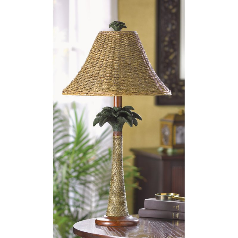 Image 0 of Tropical Vintage-Look Rattan Style Palm Tree Table Lamp