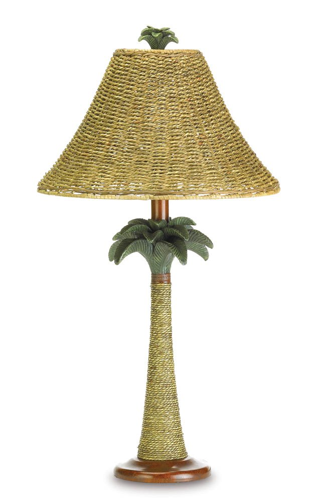 Image 1 of Tropical Vintage-Look Rattan Style Palm Tree Table Lamp