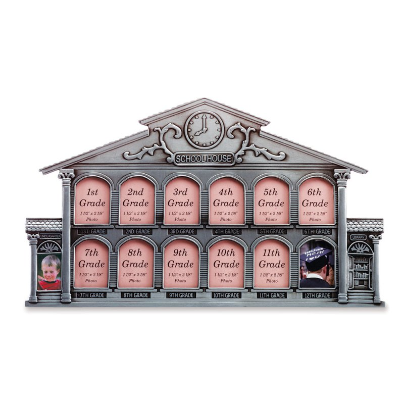 Image 1 of Pewter School House Photo Frame