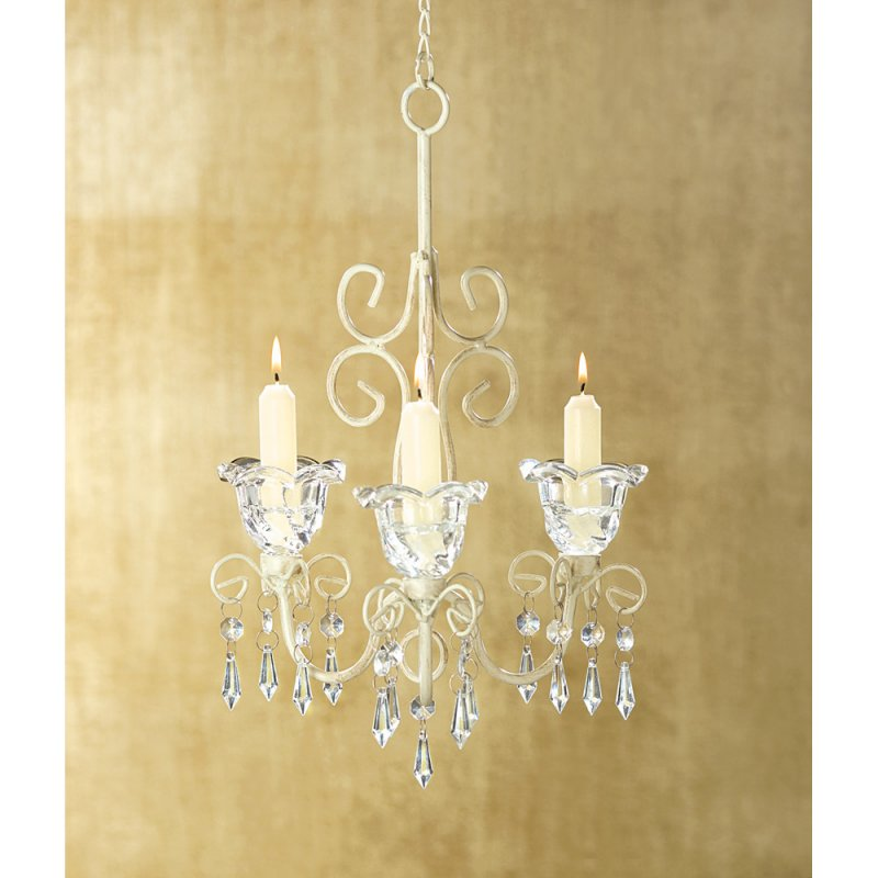French Provincial Jeweled Scrollwork Candle Chandelier