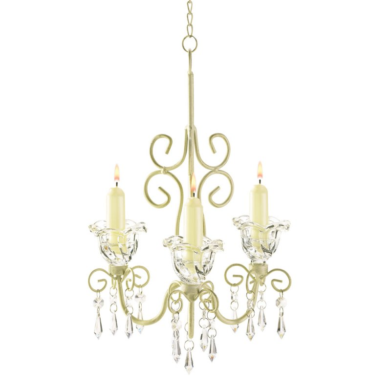 Image 1 of French Provincial Jeweled Scrollwork Candle Chandelier