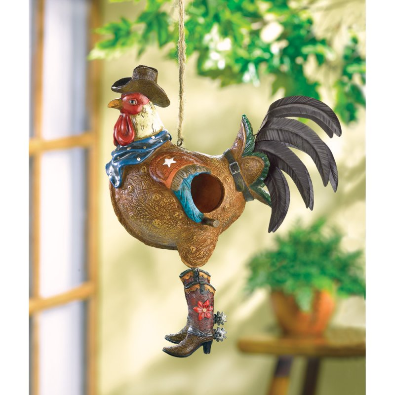 Image 0 of Cowboy Rooster Birdhouse