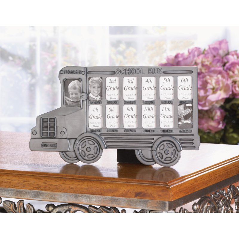 Pewter Finish School Bus Photo Frame