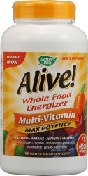 Nature's Way Alive!® Whole Food Energizer, Multi-Vitamin, Max Potency, 180 Table