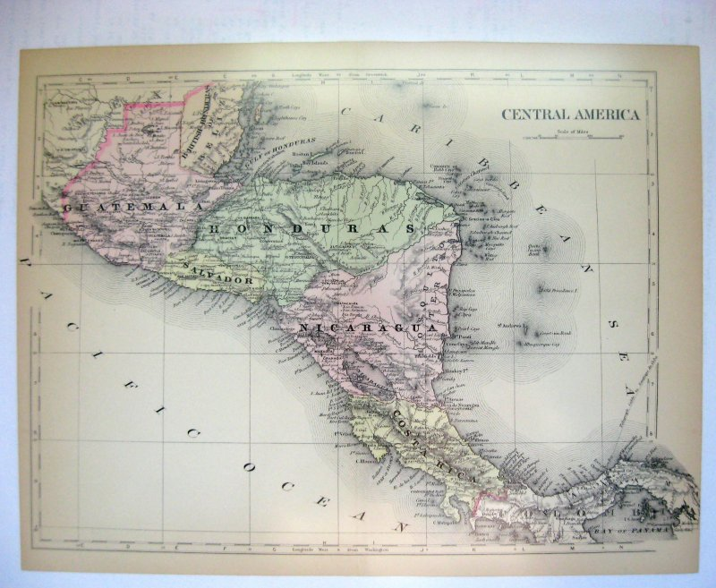 Johnson's Map of Central America -  Original (1897)