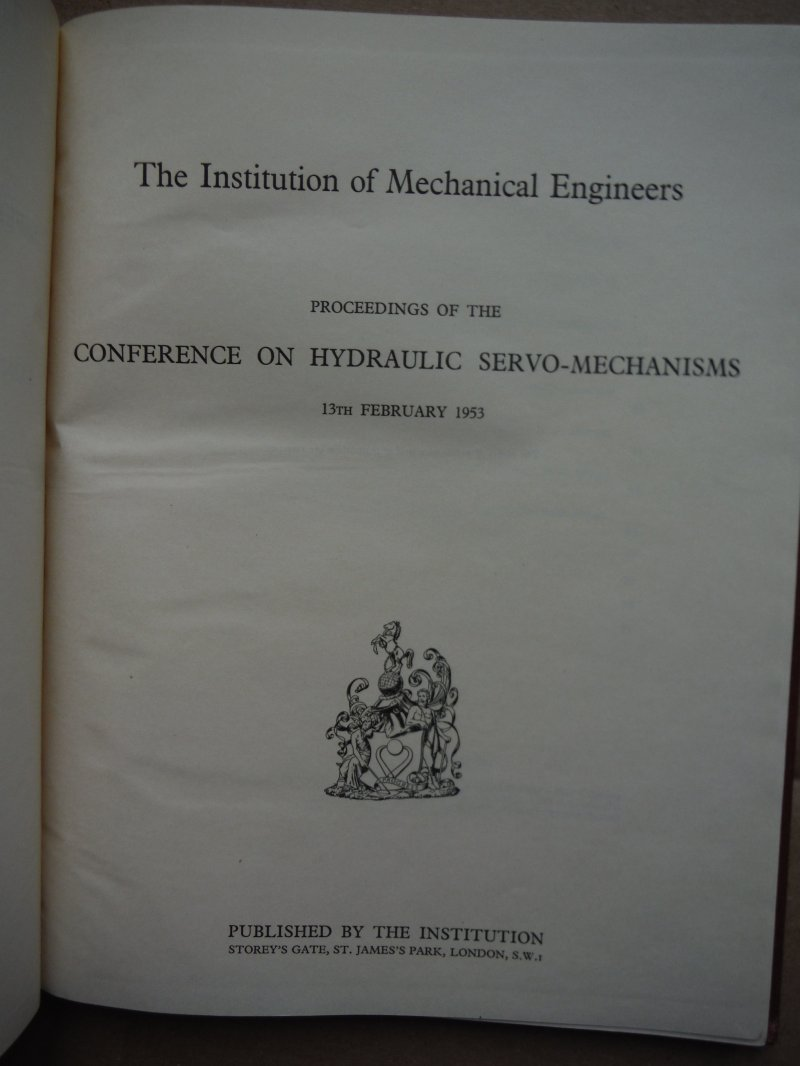 Image 1 of Proceedings of the Conference on Hydraulic Servo-Mechanisms 13th February 1953 a