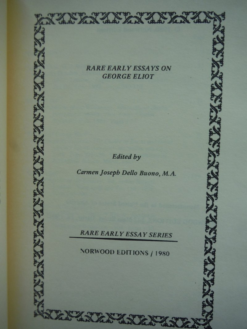Image 1 of Rare Early Essays on George Eliot (Rare Early Essay Series)