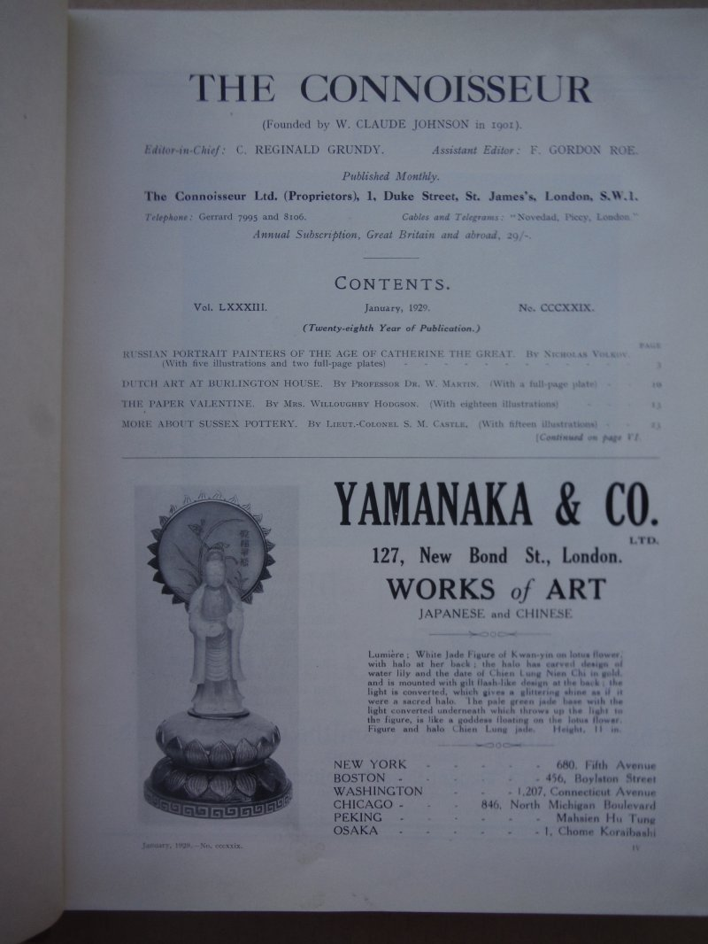 Image 1 of The Connoisseur Magazine (January - June 1929