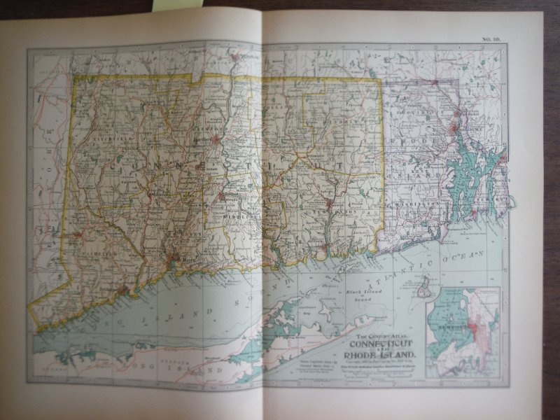 The Century Atlas, Map of  Connecticut and Rhode Island (1897)