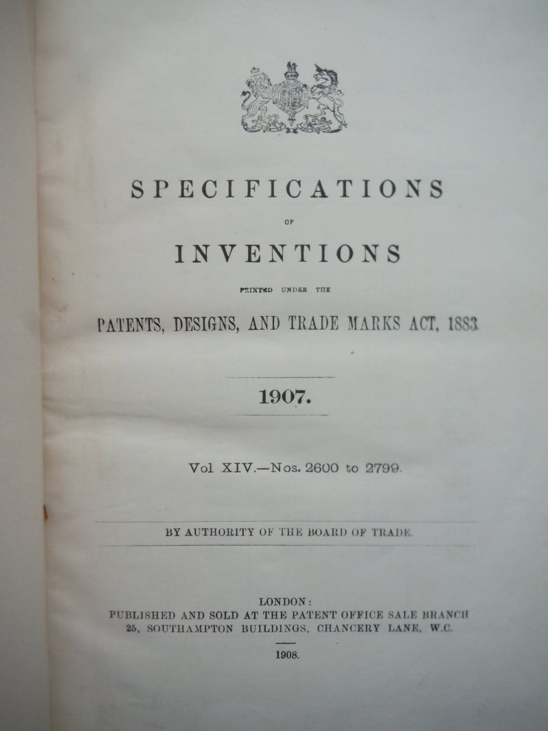 Image 1 of Specifications of Inventions printed nder the Patents, Designs, and Trade Marks