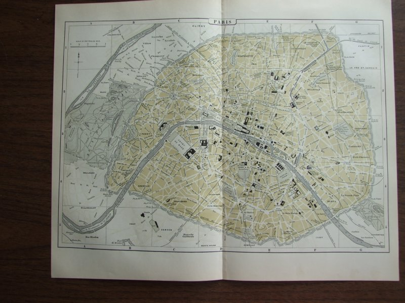 Johnson's  Map of Paris (France) -  Original (1895)