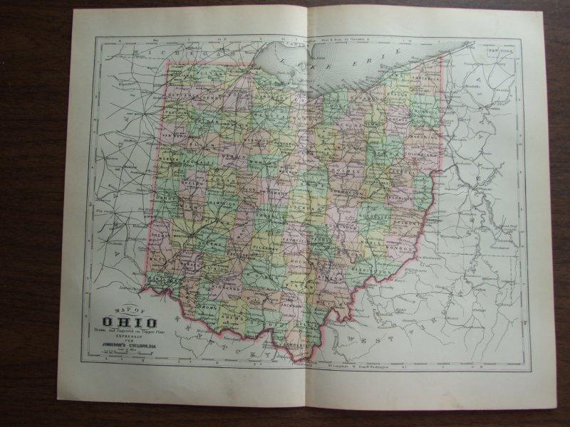 Johnson's  Map of Ohio -  Original (1895)