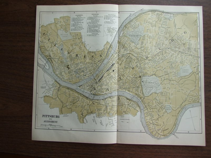 Johnson's  Map of Pittsburg and Allegheny  (Pennsylvanaia) -  Original (1895)