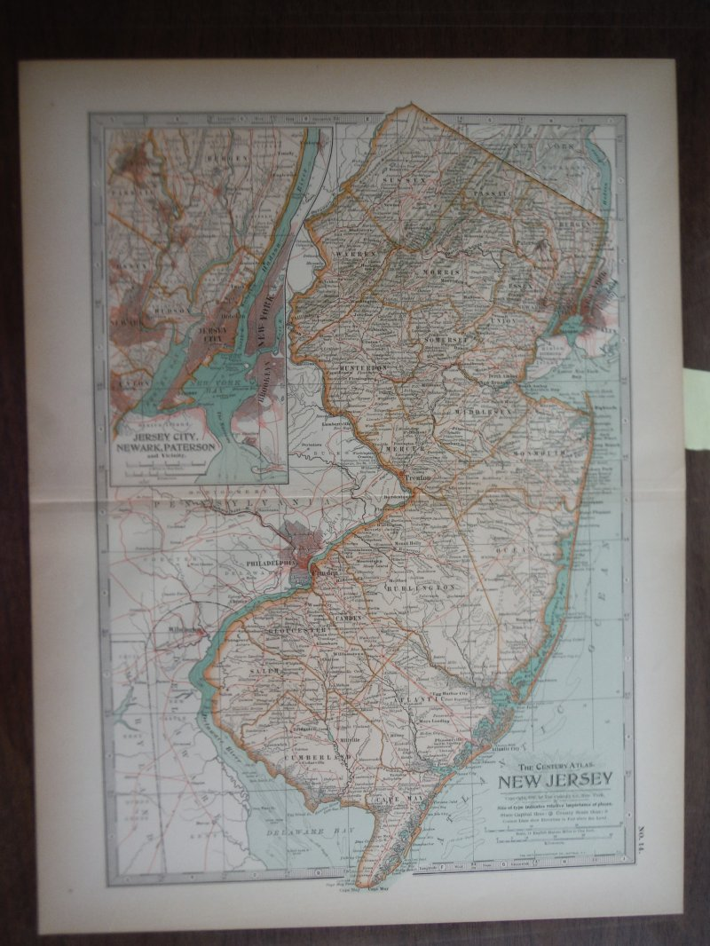 The Century Atlas  Map of New Jersey (1897)