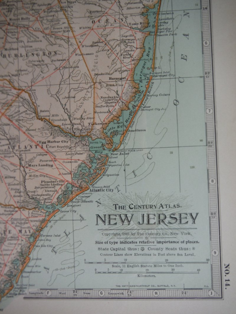 Image 1 of The Century Atlas  Map of New Jersey (1897)