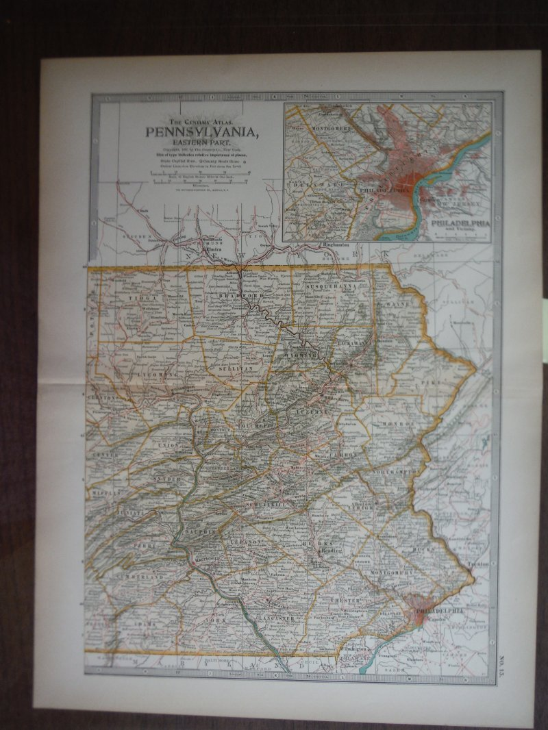 The Century Atlas  Map of Pennsylvania, Eastern Part (1897)