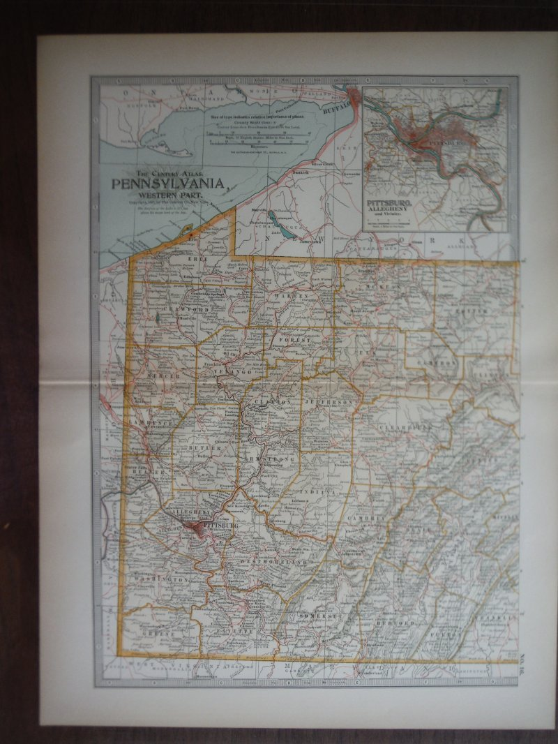 The Century Atlas  Map of Pennsylvania, Western Part (1897)