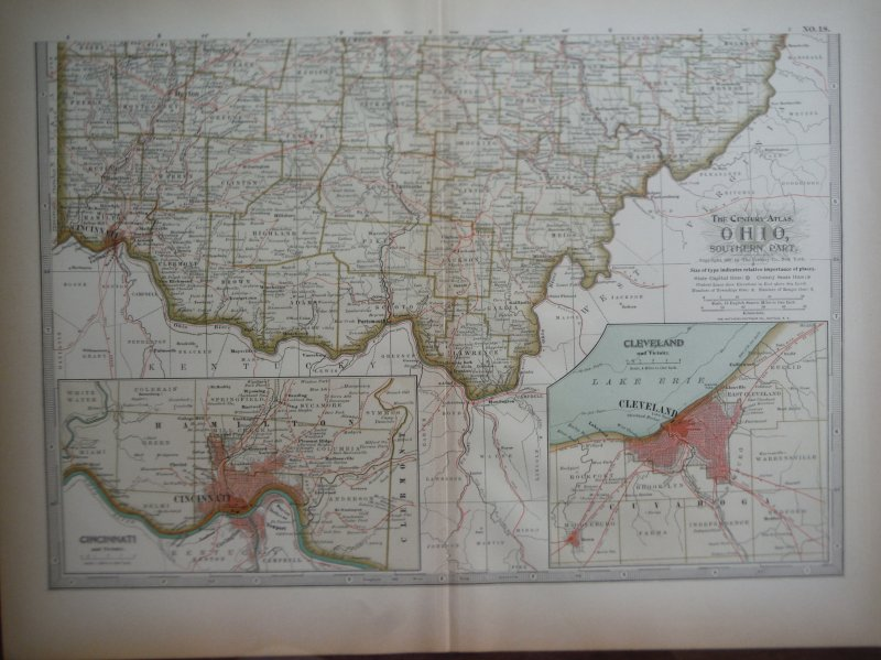 The Century Atlas  Map of Ohio,  Southern Part (1897)