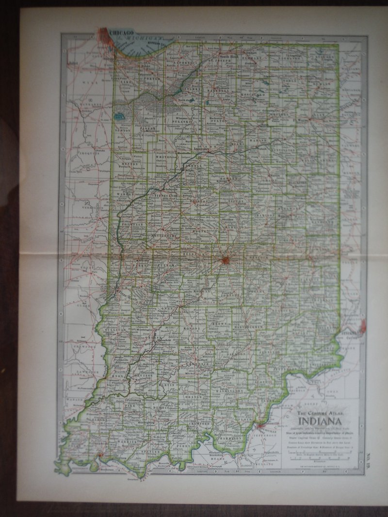 The Century Atlas  Map of Indiana (1897)