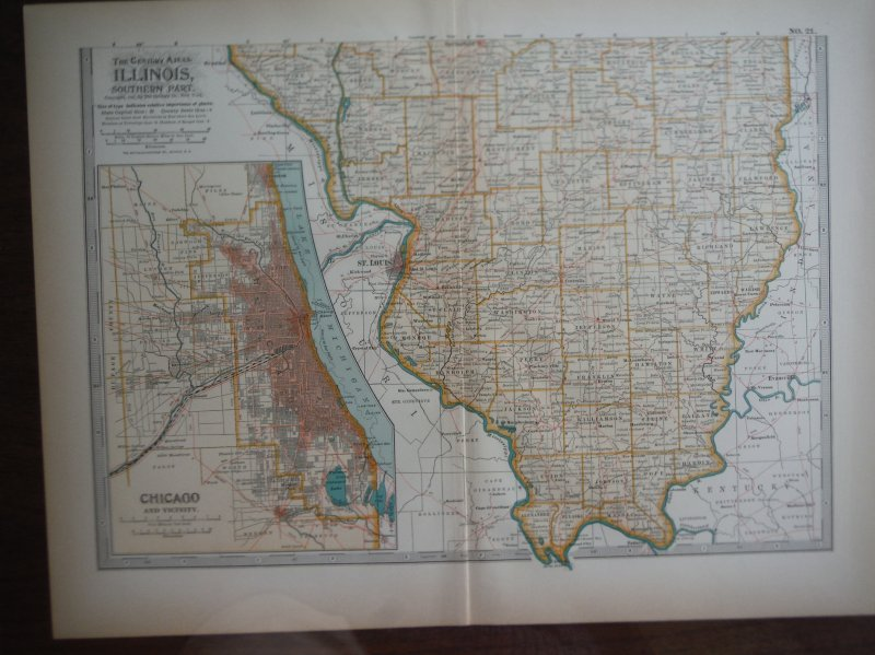 The Century Atlas  Map of Illinois Southern Part (1897)