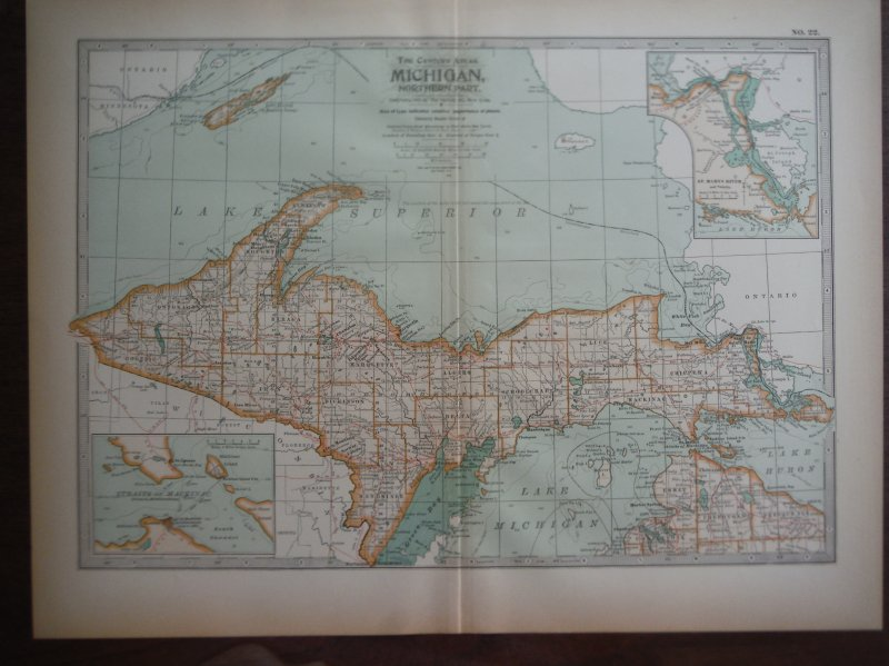 The Century Atlas  Map of Michigan, Northern Part (1897)