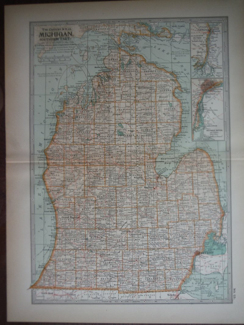 The Century Atlas  Map of Michigan, Southern Part (1897)