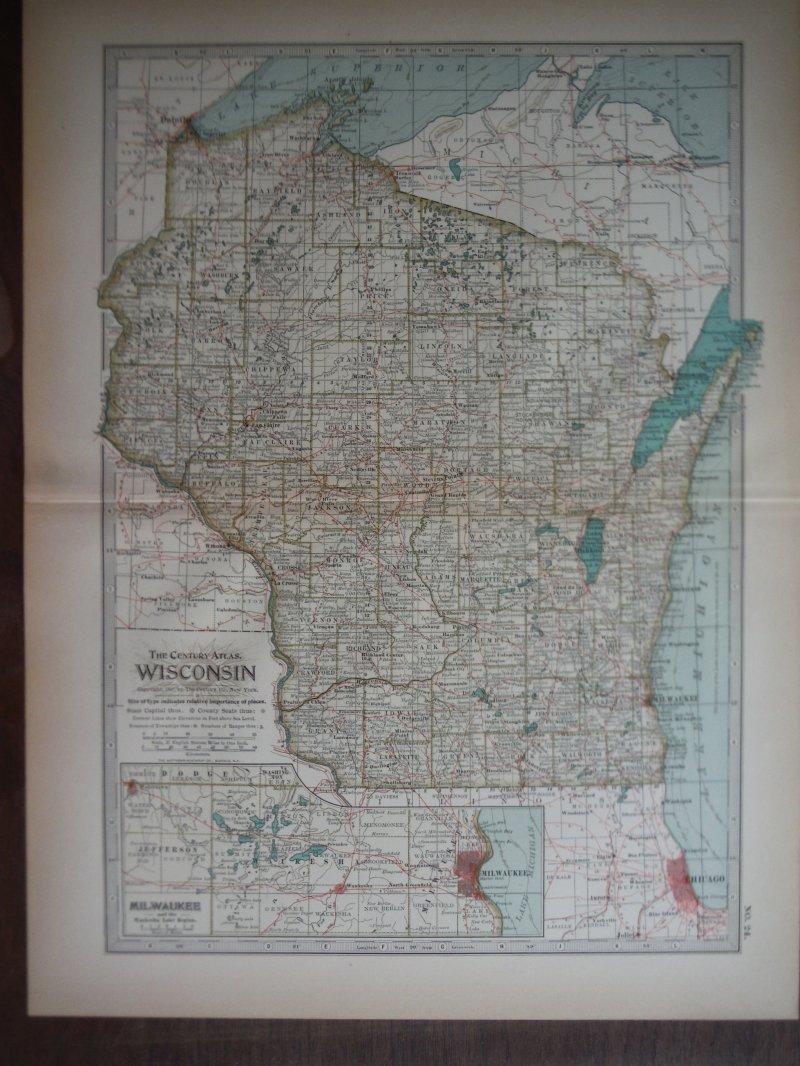 The Century Atlas  Map of Wisconsin (1897)
