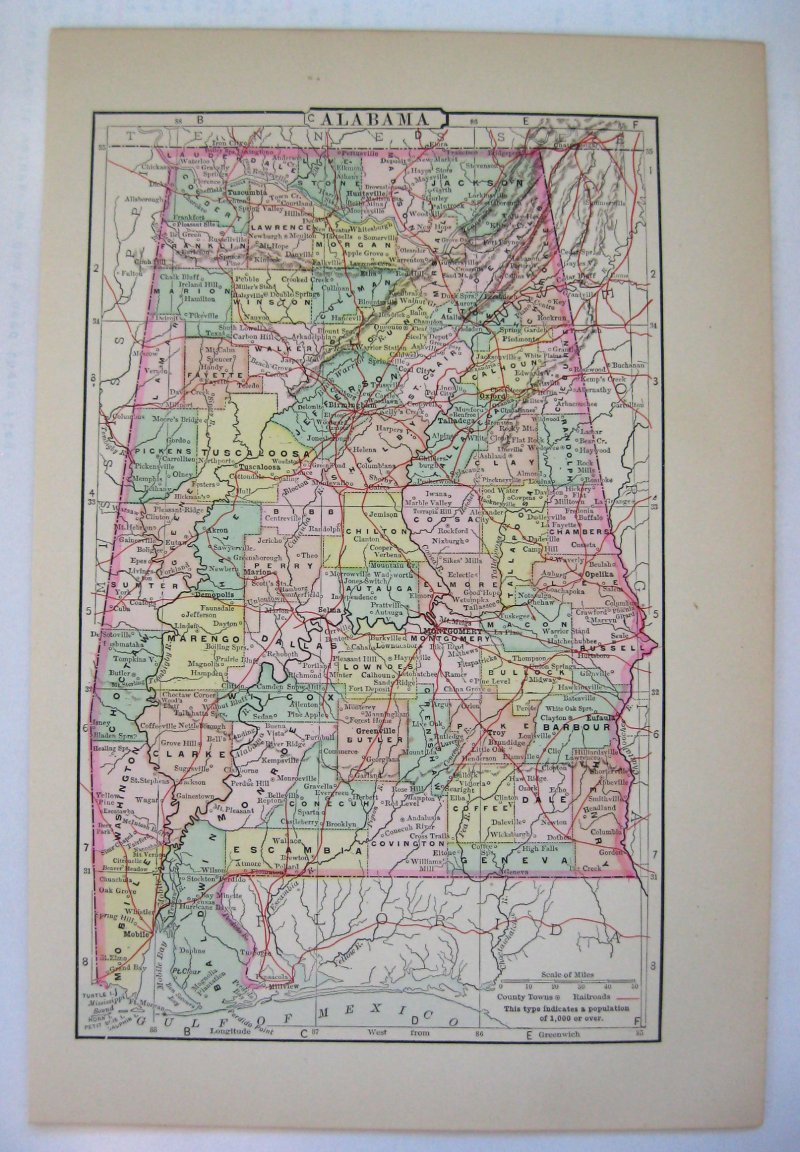 Johnson's Map of Alabama  -  Original (1897)