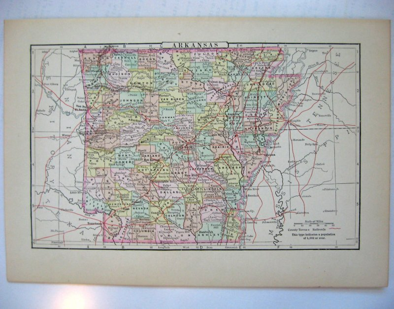 Johnson's Map of Arkansas  -  Original (1897)