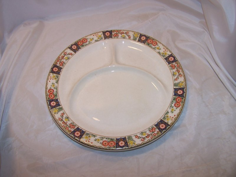 Image 0 of Canonsburg China Divided Dinner Plates, Antique