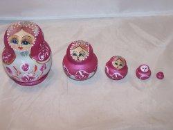 Nesting Doll Folk Art Woman in Pink Dress, 5 Levels