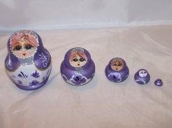 Nesting Doll Folk Art Woman in Purple, 5 Levels