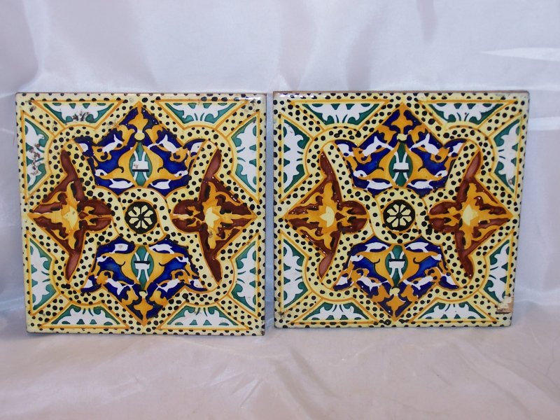 Ceramic Tile Spain Folk Art Yellow Brown Blue Green