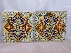 German Ceramic Tile, Floral Blue Brown Red