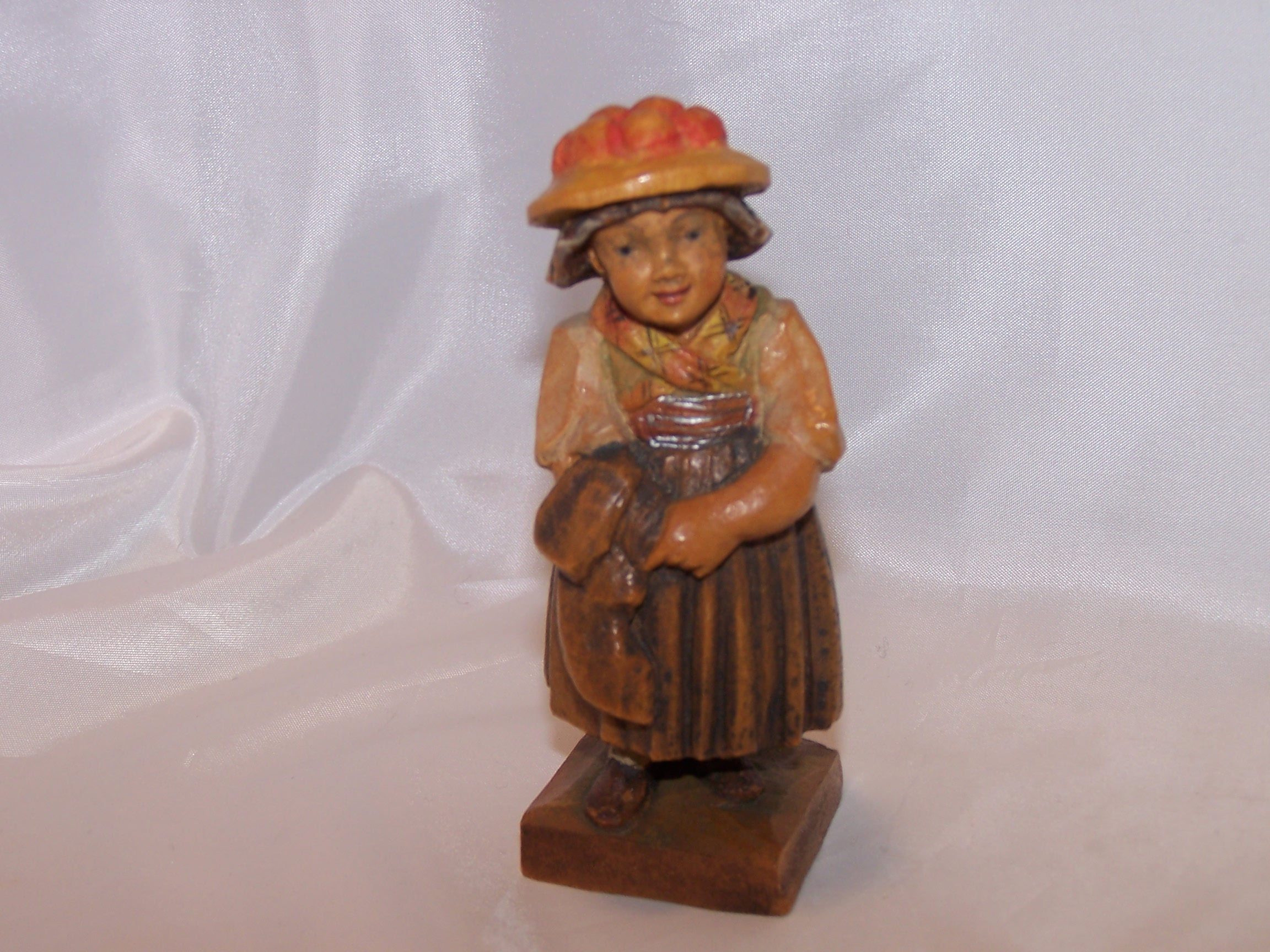 European Woman Figurine, Hand Carved, Wooden Wood