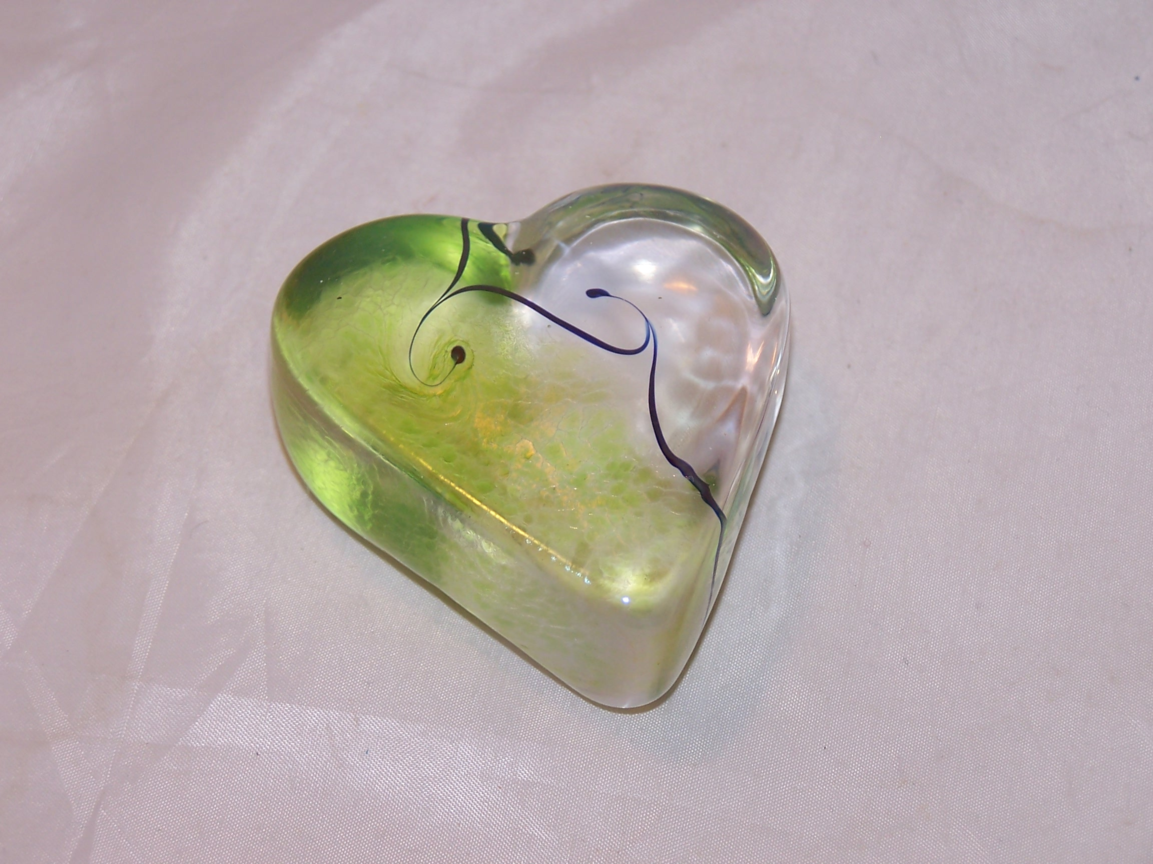 Robert Held Nouveau Heart, Light Green, Art Glass
