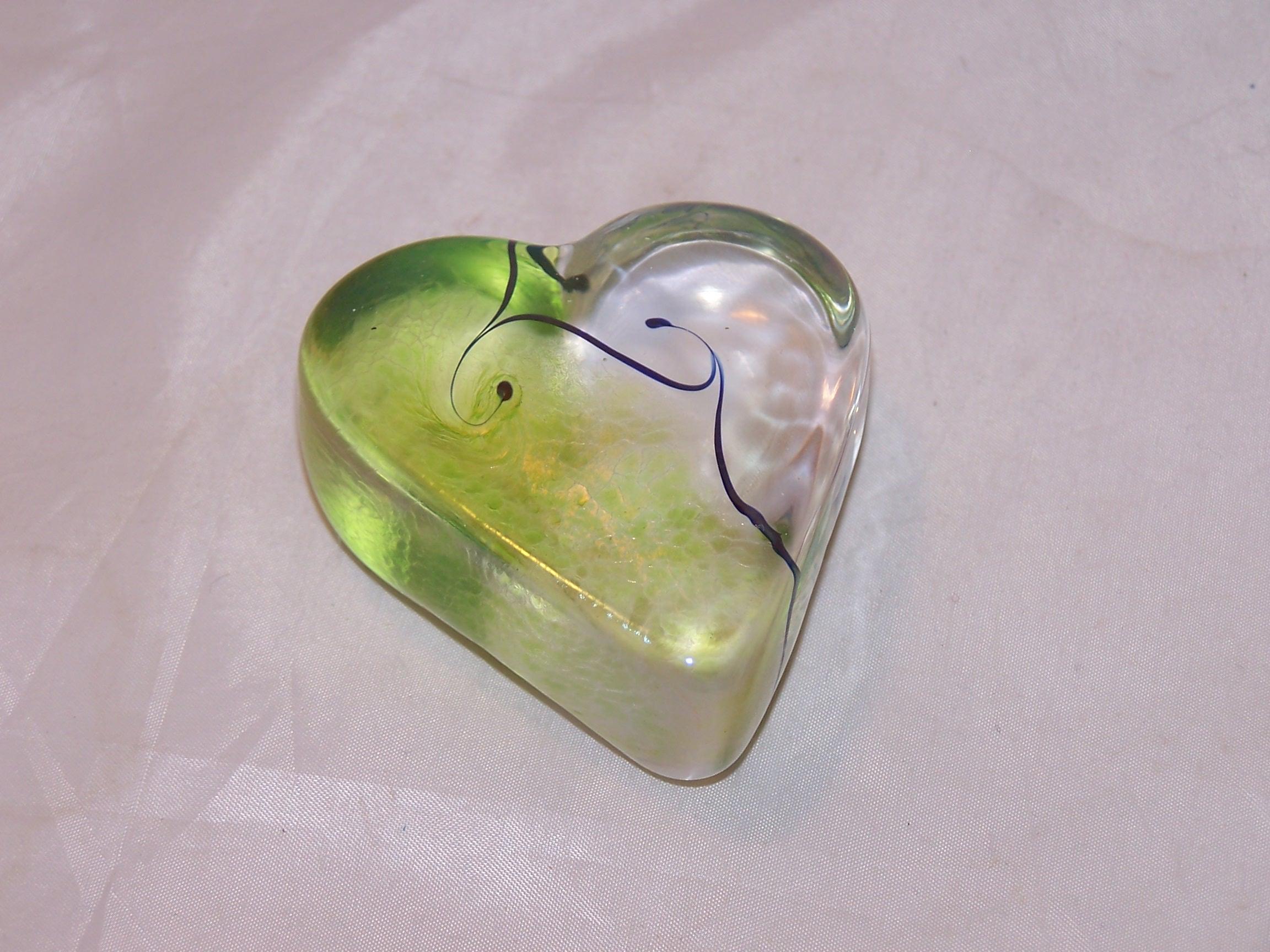 Robert Held Nouveau Heart, Light Green, Art Glass