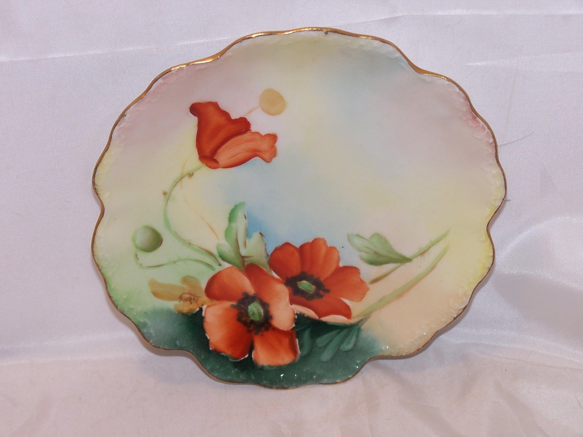 Elite France Poppy Plate, Limoges Porcelain, c 1896 to 1920
