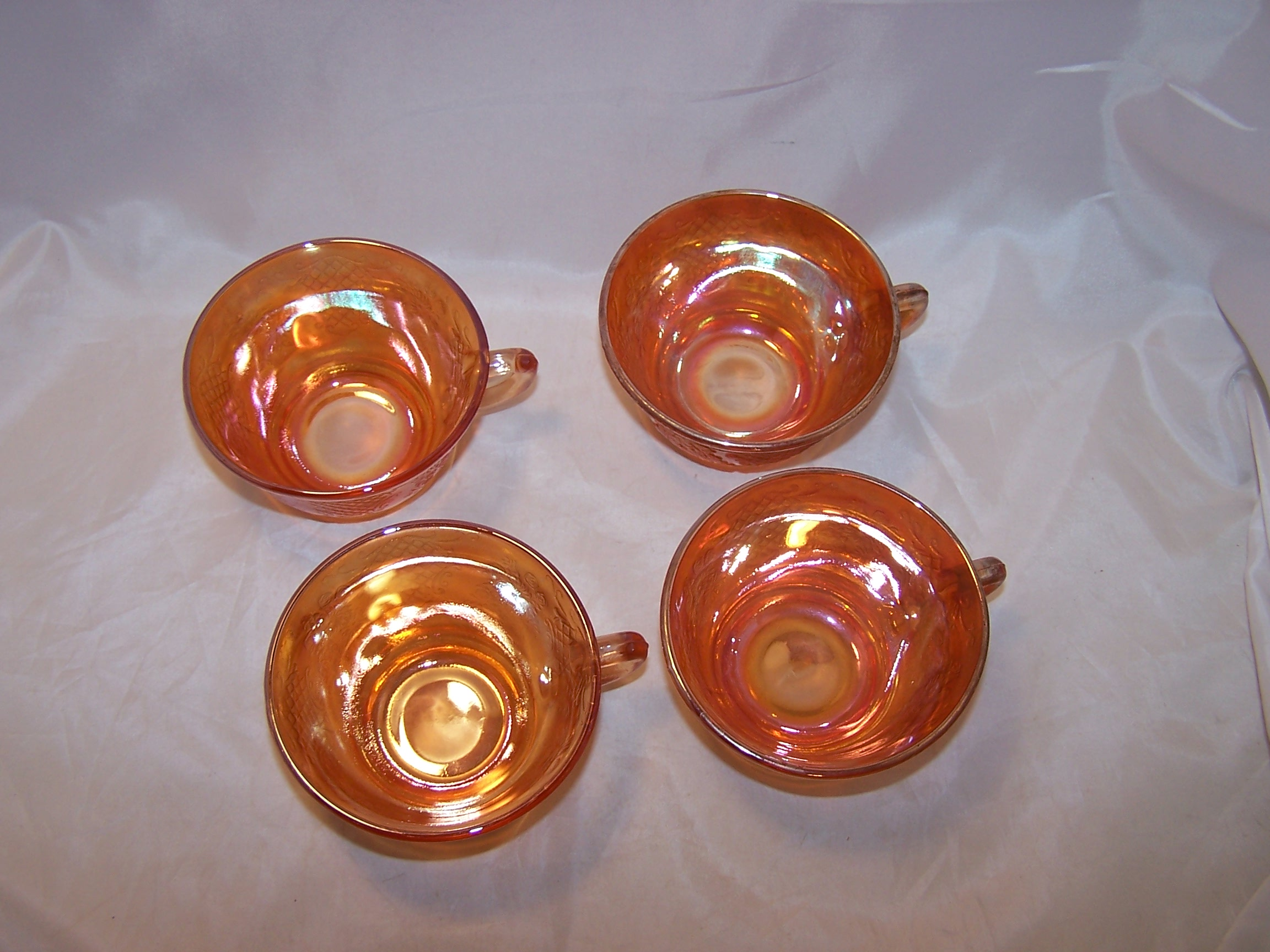 Marigold Carnival Glass Creamer And Cups Flowers And