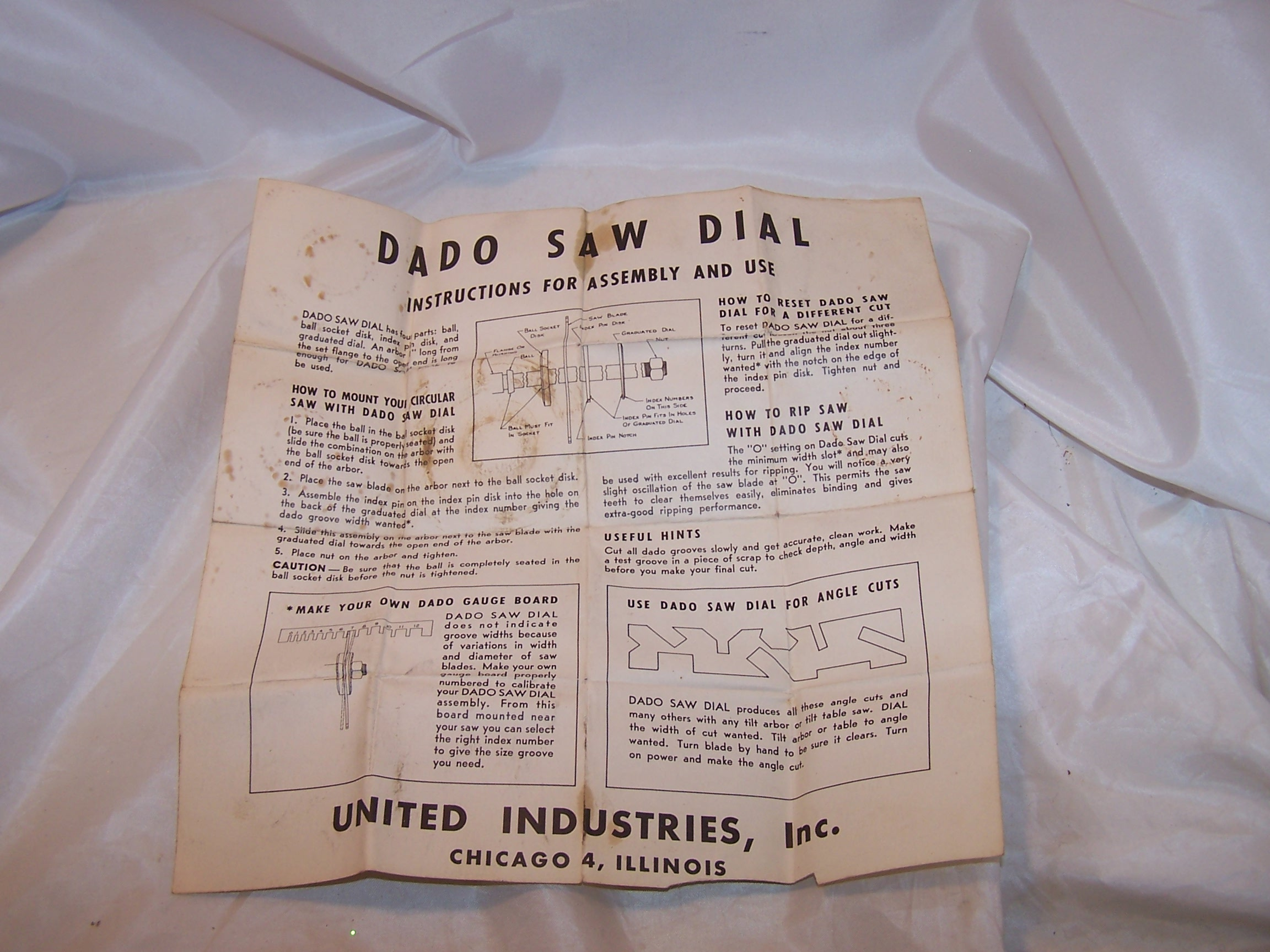 Image 5 of Dado Saw Dial, Vintage, United Industries Inc, Chicago