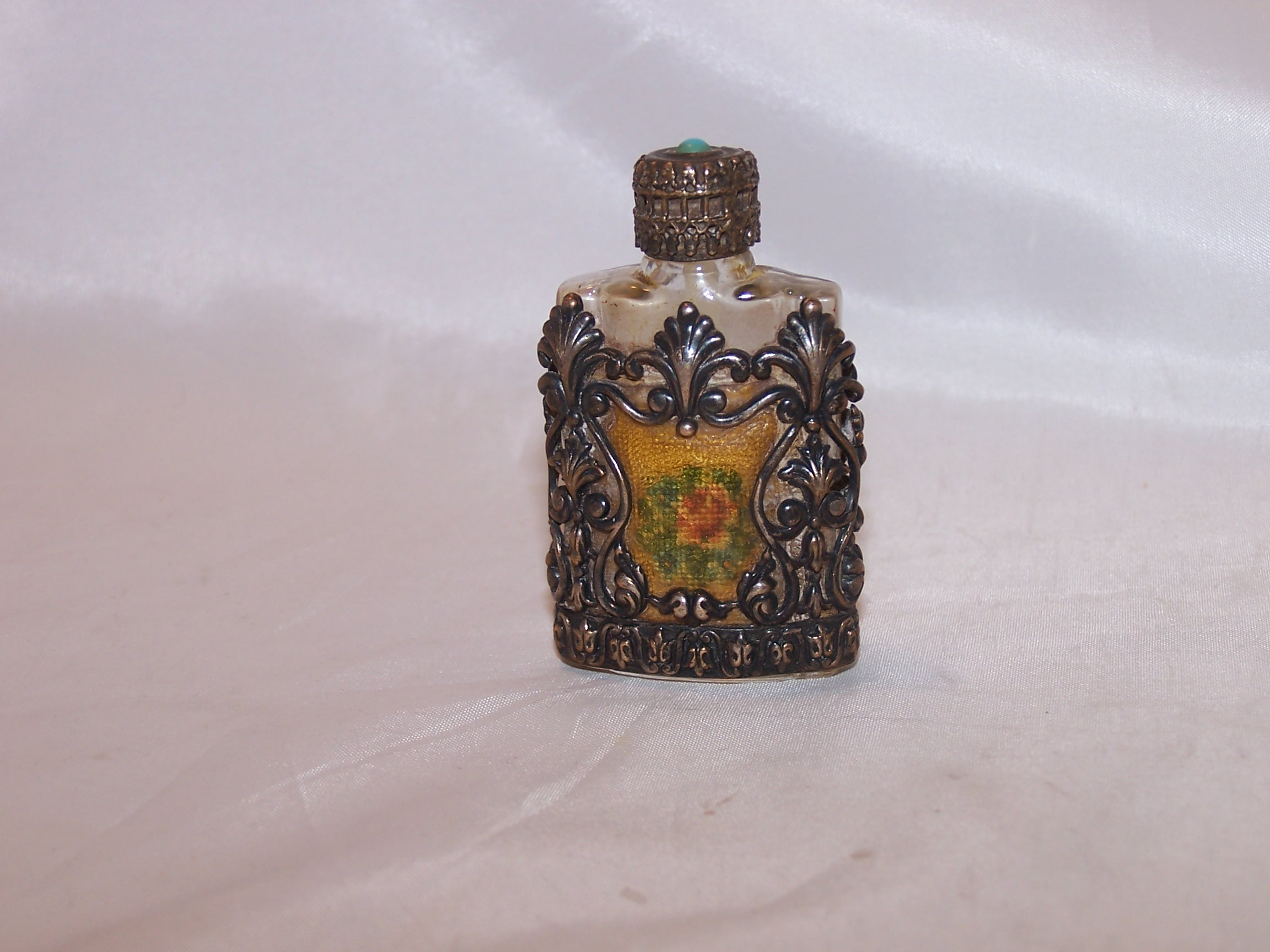 Perfume Bottle, Silver Filigree, Embroidery, Vintage