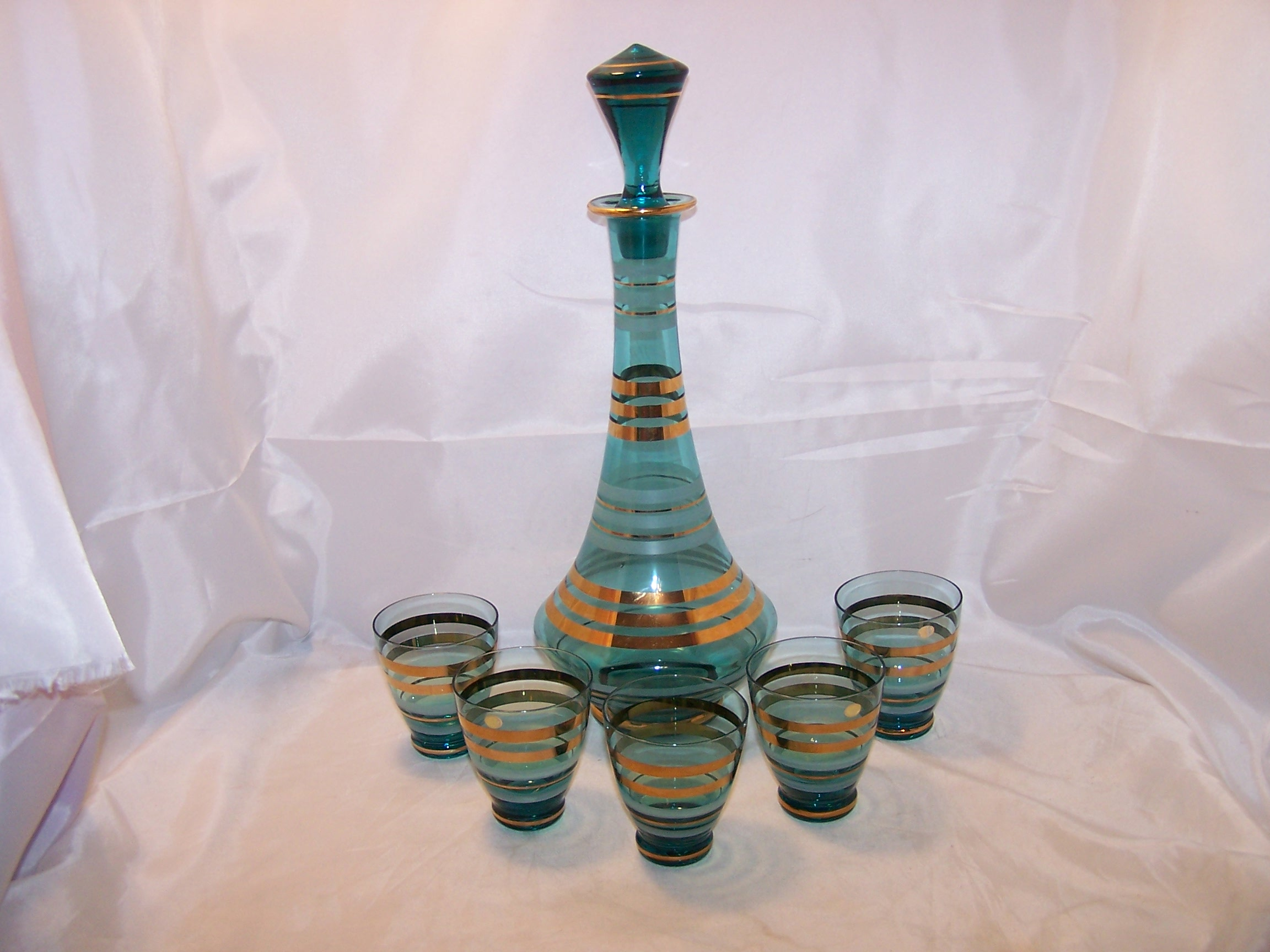 Hungary Striped Decanter, Glasses, Teal