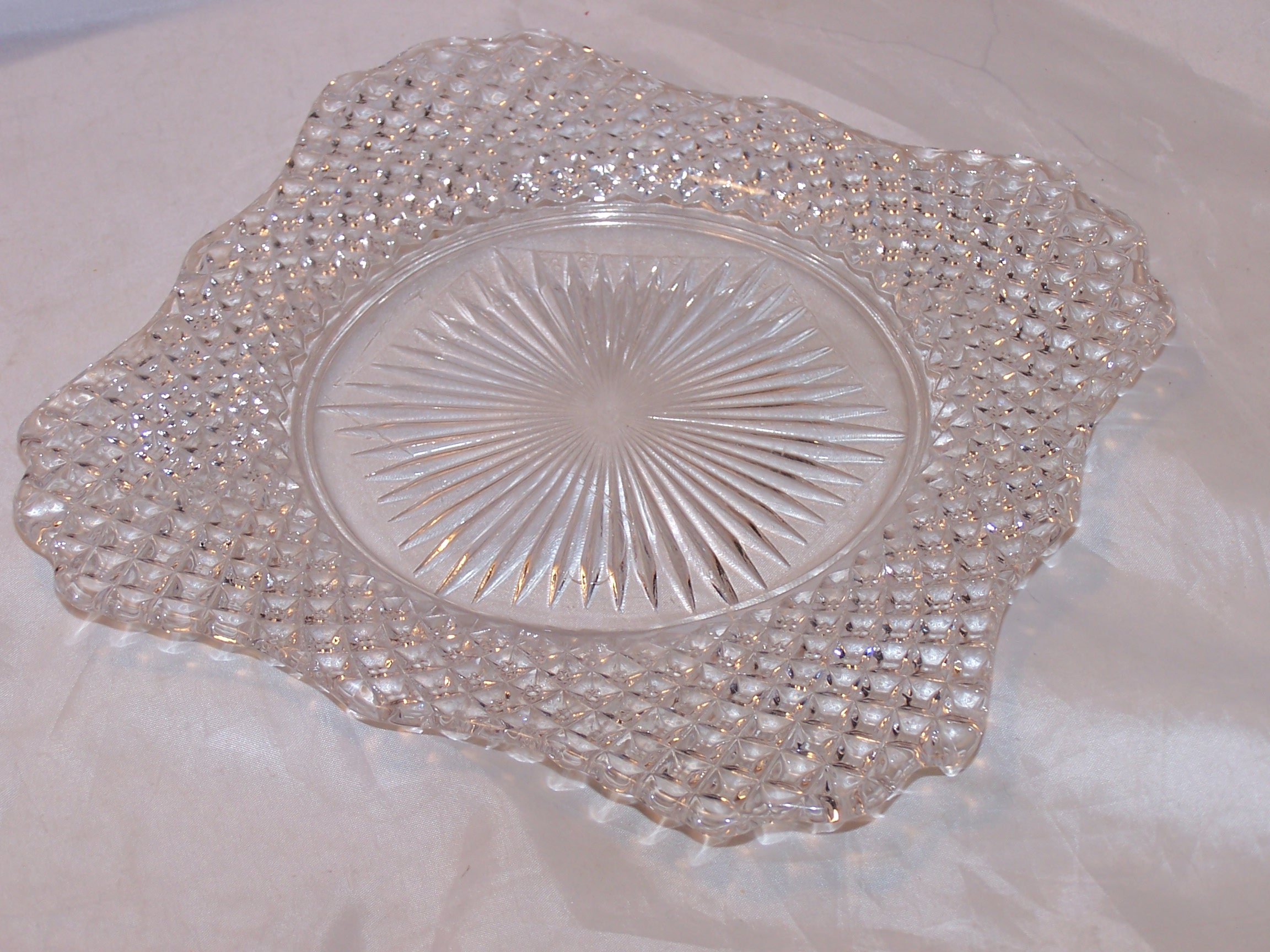 Image 1 of Glass Salad Plate, Square w Scalloping, Vintage
