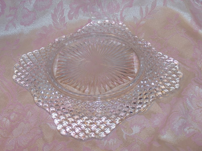Image 2 of Glass Salad Plate, Square w Scalloping, Vintage