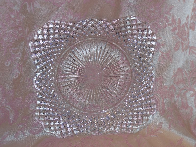 Image 3 of Glass Salad Plate, Square w Scalloping, Vintage